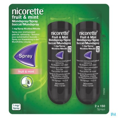 NICORETTE FRUIT & MINT 1 MG SPRAY DOS 2X150